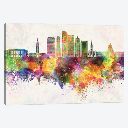Oklahoma City II Skyline In Watercolor Background Canvas Print #PUR1593} by Paul Rommer Canvas Art