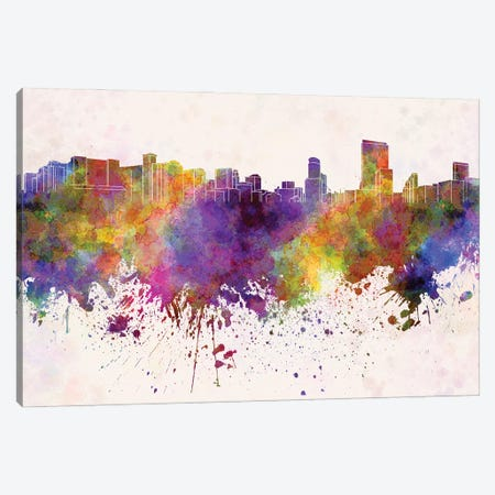 Orlando Skyline In Watercolor Background Canvas Print #PUR1598} by Paul Rommer Canvas Art