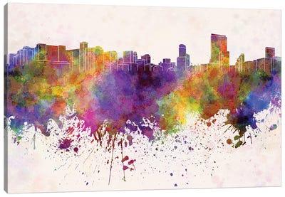 Orlando Skyline In Watercolor Background Canvas Art Print
