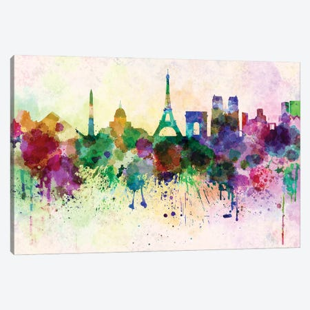 Paris Skyline In Watercolor Background Canvas Print #PUR1609} by Paul Rommer Canvas Wall Art