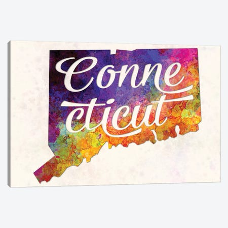 Connecticut US State In Watercolor Text Cut Out Canvas Print #PUR160} by Paul Rommer Art Print