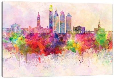 Philadelphia II Skyline In Watercolor Background Canvas Art Print