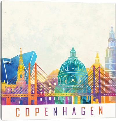 Copenhagen Landmarks Watercolor Poster Canvas Art Print