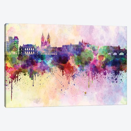 Prague Skyline In Watercolor Background Canvas Print #PUR1629} by Paul Rommer Canvas Wall Art