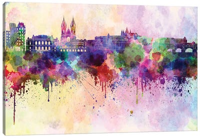 Prague Skyline In Watercolor Background Canvas Art Print