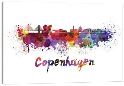 Copenhagen Skyline In Watercolor Canvas Art Print