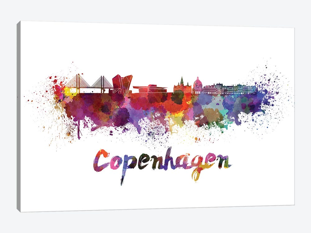 Copenhagen Skyline In Watercolor by Paul Rommer 1-piece Canvas Artwork