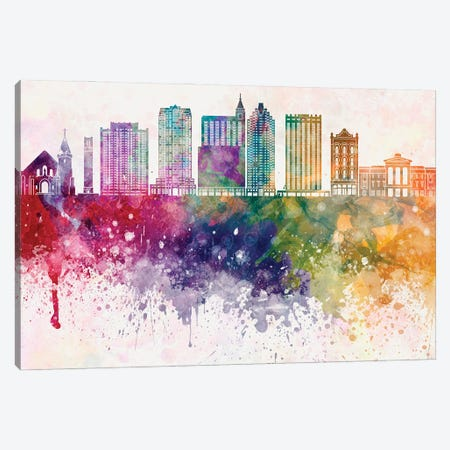 Raleigh II Skyline In Watercolor Background Canvas Print #PUR1639} by Paul Rommer Canvas Art Print