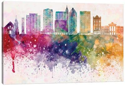 Raleigh II Skyline In Watercolor Background Canvas Art Print