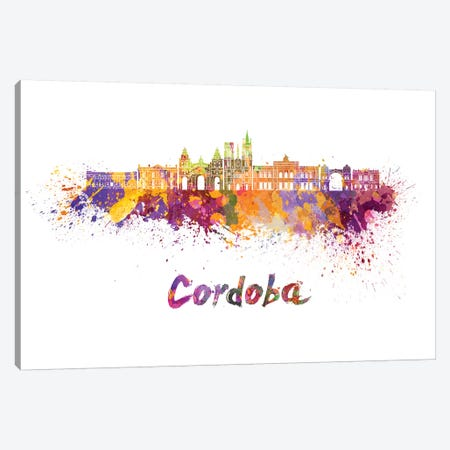 Cordoba Ar Skyline In Watercolor Canvas Print #PUR163} by Paul Rommer Canvas Art Print