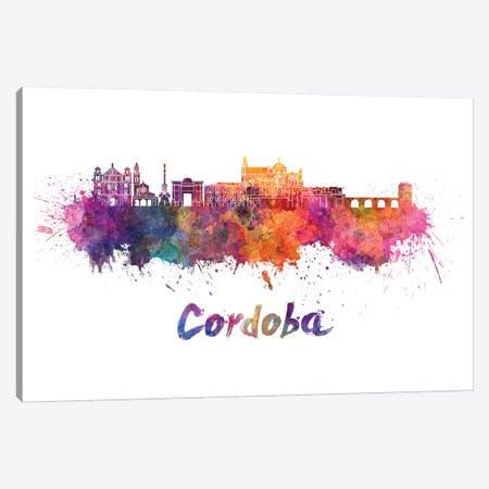 Cordoba Skyline In Watercolor Canvas Print #PUR164} by Paul Rommer Canvas Art