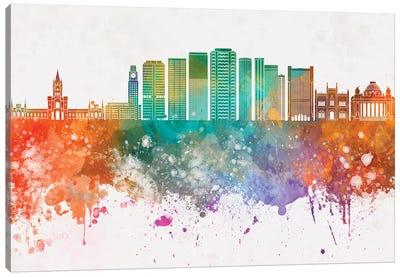 Rio De Janeiro II Skyline In Watercolor Background Canvas Art Print