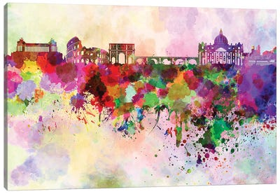 Rome Skyline In Watercolor Background Canvas Art Print