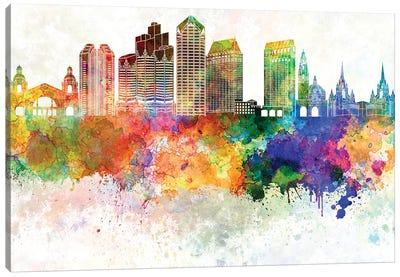 San Diego II Skyline In Watercolor Background Canvas Art Print