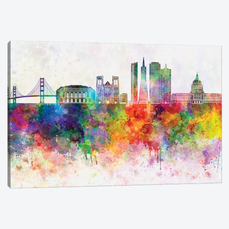 San Francisco II Skyline In Watercolor Background Canvas Print #PUR1674} by Paul Rommer Canvas Art