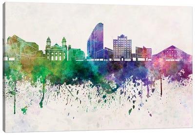 San Jose Skyline In Watercolor Background Canvas Art Print