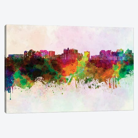 Sarasota Skyline In Watercolor Background Canvas Print #PUR1678} by Paul Rommer Canvas Art Print