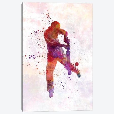 Cricket Player Batsman Silhouette I Canvas Print #PUR167} by Paul Rommer Canvas Wall Art