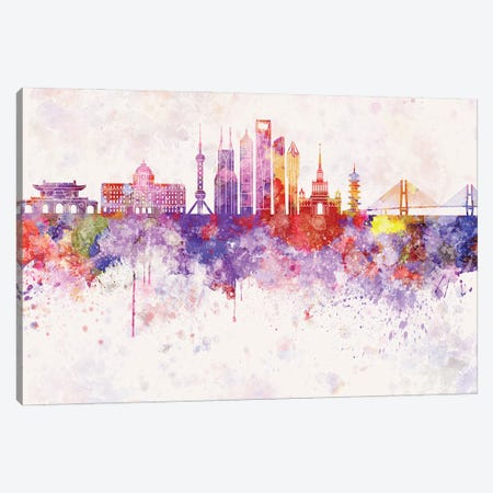 Shanghai II Skyline In Watercolor Background Canvas Print #PUR1687} by Paul Rommer Canvas Print