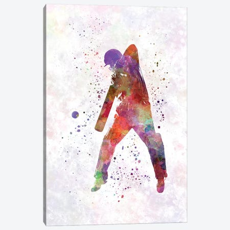 Cricket Player Batsman Silhouette II Canvas Print #PUR168} by Paul Rommer Art Print
