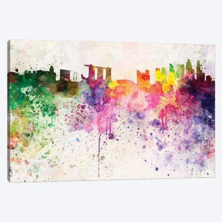 Singapore Ii Skyline In Watercolor Background Canvas Print #PUR1693} by Paul Rommer Canvas Art Print