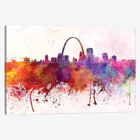 St Louis Skyline In Watercolor Background Canvas Print #PUR1701} by Paul Rommer Canvas Print