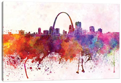 St Louis Skyline In Watercolor Background Canvas Art Print