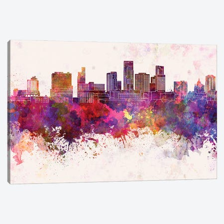 St. Paul Skyline In Watercolor Background Canvas Print #PUR1702} by Paul Rommer Art Print