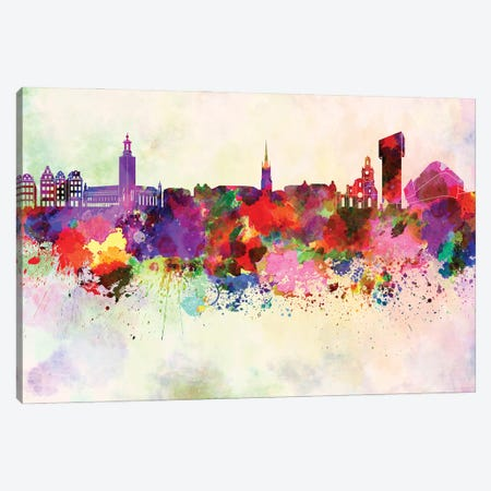 Stockholm Skyline In Watercolor Background Canvas Print #PUR1705} by Paul Rommer Canvas Wall Art
