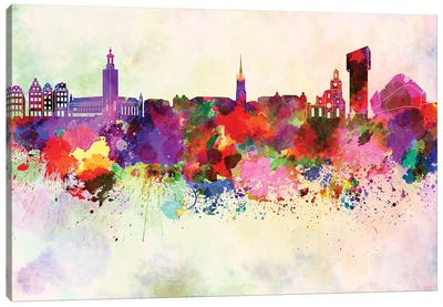 Stockholm Skyline In Watercolor Background Canvas Art Print