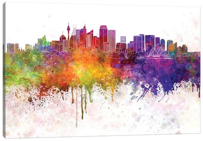 Sydney V2 Skyline In Watercolor Background Canvas Art Print