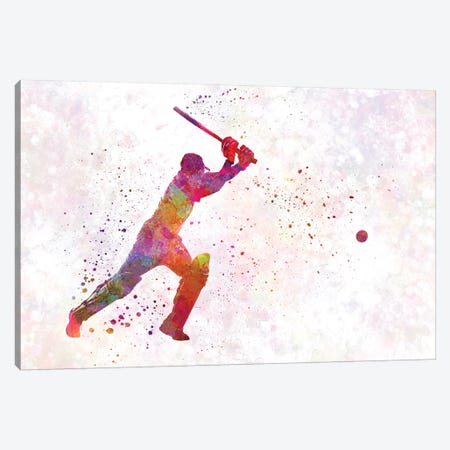 Cricket Player Batsman Silhouette IV Canvas Print #PUR170} by Paul Rommer Canvas Wall Art