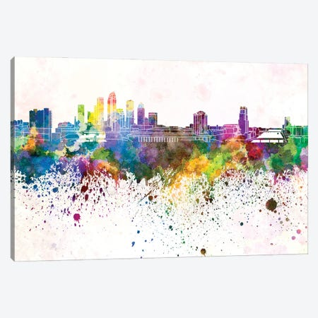 Tampa Skyline In Watercolor Background Canvas Print #PUR1712} by Paul Rommer Canvas Artwork