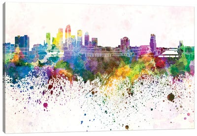 Tampa Skyline In Watercolor Background Canvas Art Print