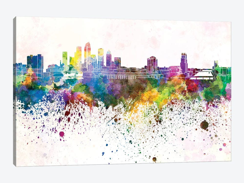 Tampa Skyline In Watercolor Background by Paul Rommer 1-piece Canvas Art