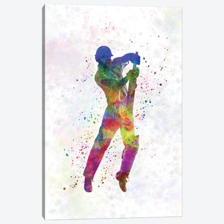Cricket Player Batsman Silhouette V Canvas Print #PUR171} by Paul Rommer Canvas Art