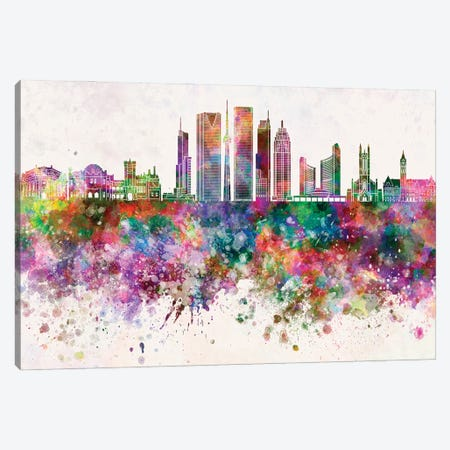 Toronto V2 Skyline In Watercolor Background Canvas Print #PUR1725} by Paul Rommer Canvas Art