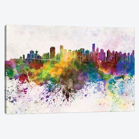 Vancouver Skyline In Watercolor Background Canvas Print #PUR1738} by Paul Rommer Canvas Wall Art