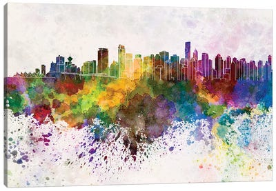 Vancouver Skyline In Watercolor Background Canvas Art Print