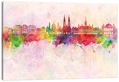 Vienna II Skyline In Watercolor Background Canvas Art Print