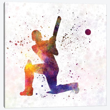 Cricket Player Batsman Silhouette VIII Canvas Print #PUR174} by Paul Rommer Art Print