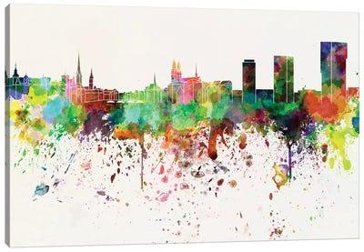 Zurich Skyline In Watercolor Background Canvas Art Print