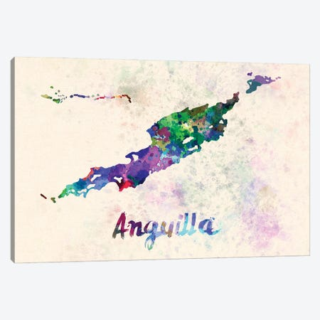 Anguilla Map In Watercolor Canvas Print #PUR1757} by Paul Rommer Art Print