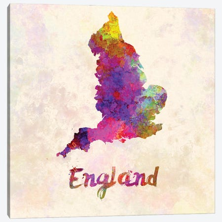 England Map In Watercolor Canvas Print #PUR1765} by Paul Rommer Canvas Wall Art