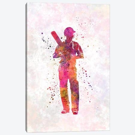 Cricket Player Batsman Silhouette X Canvas Print #PUR176} by Paul Rommer Art Print