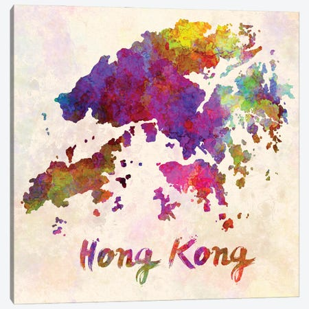 Hong Kong Map In Watercolor Canvas Print #PUR1775} by Paul Rommer Canvas Art Print
