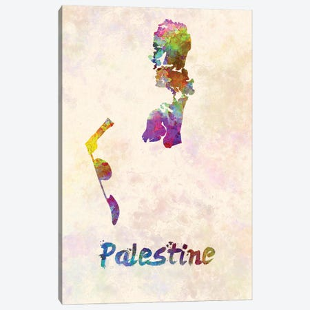 Palestine Map In Watercolor Canvas Print #PUR1783} by Paul Rommer Art Print