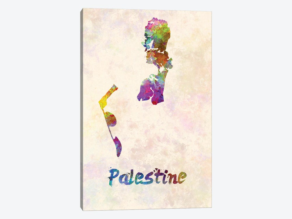 Palestine Map In Watercolor by Paul Rommer 1-piece Canvas Art