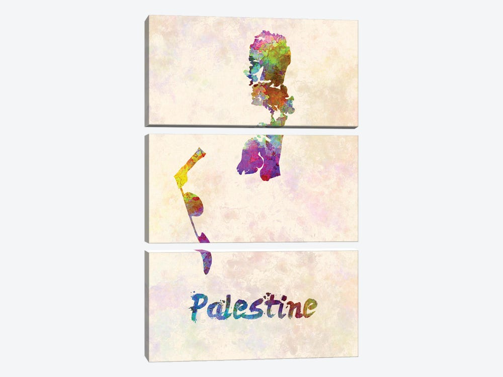 Palestine Map In Watercolor by Paul Rommer 3-piece Canvas Art