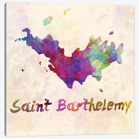 Saint Barthelemy Map In Watercolor Canvas Print #PUR1787} by Paul Rommer Canvas Art